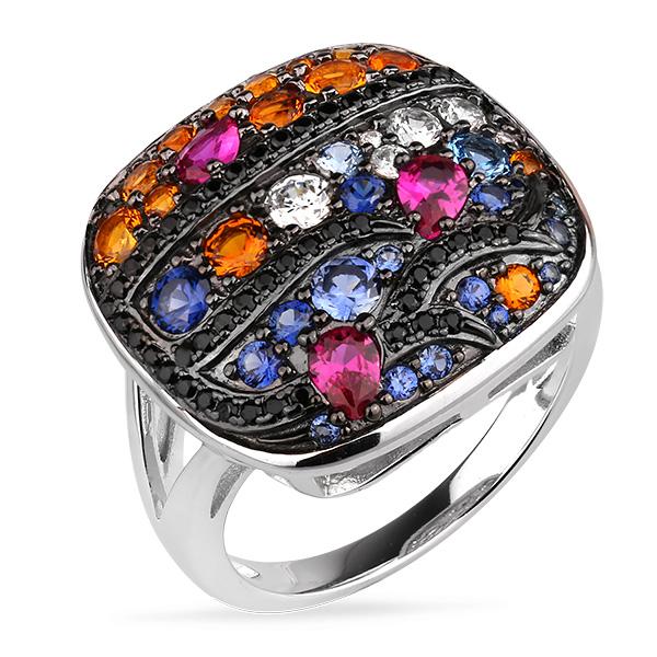 Купить Серебряное кольцо Sandara Ice с цветными фианитами и черным родированием PJR449