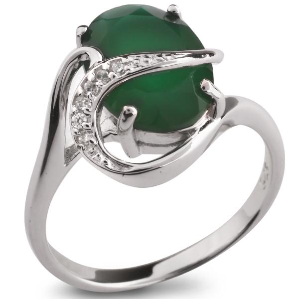 Купить Серебряное кольцо Sandara с зеленым агатом и фианитами PPR1863