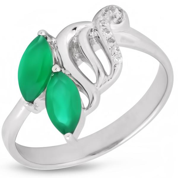 Купить Серебряное кольцо Sandara с зеленым агатом и фианитами PPR9052