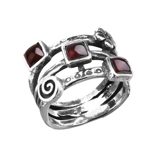 Серебряные кольца с гранатом фото 6