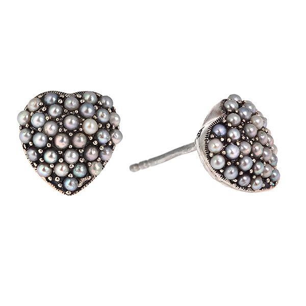 Купить Серебряные серьги c микрожемчугом RKE051, Винтаж