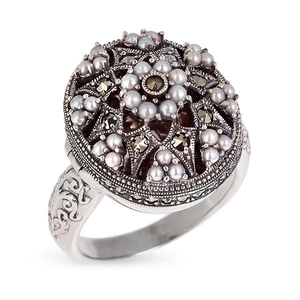 Купить Серебряное кольцо c микрожемчугом и марказитами RKR026, Винтаж