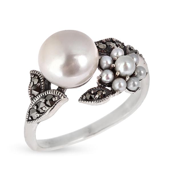 Купить Серебряное кольцо c жемчугом, микрожемчугом и марказитами RKR029, Винтаж
