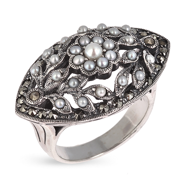 Купить Серебряное кольцо c микрожемчугом и марказитами RKR034, Винтаж
