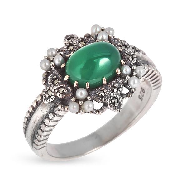 Купить Серебряное кольцо c авантюрином, микрожемчугом и марказитами RKR038, Винтаж