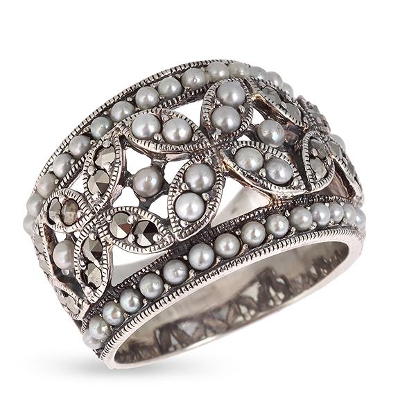 Купить Серебряное кольцо c микрожемчугом и марказитами RKR040, Винтаж