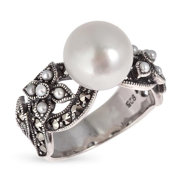 Купить Серебряное кольцо c жемчугом, микрожемчугом и марказитами RKR060, Винтаж