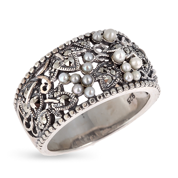 Купить Серебряное кольцо c микрожемчугом и марказитами RKR069, Винтаж