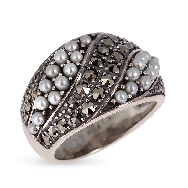Купить Серебряное кольцо c микрожемчугом и марказитами RKR085, Винтаж