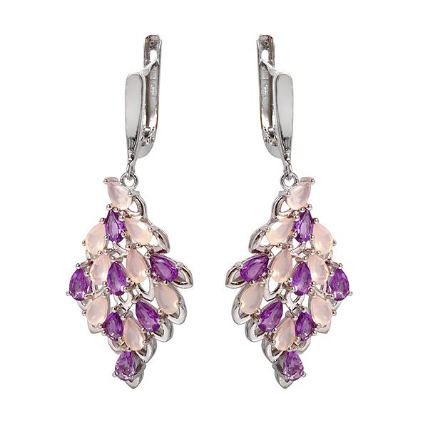 Купить Серебряные серьги Sandara с аметистом и розовым кварцем RNE163