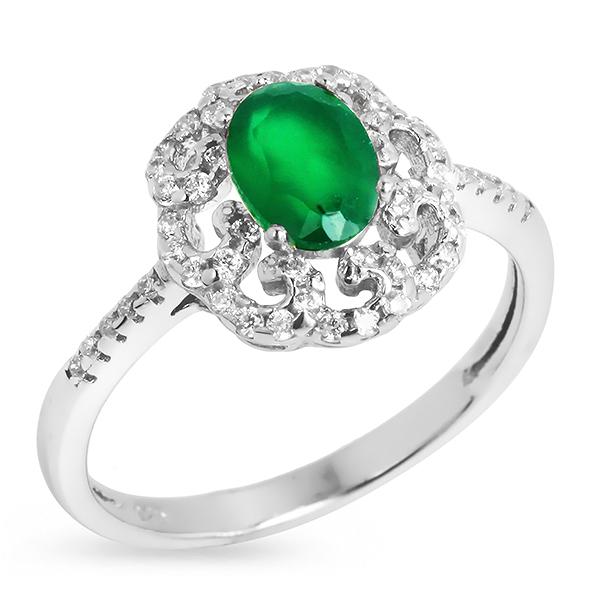 Купить Серебряное кольцо Sandara с зеленым агатом и фианитами RNR032
