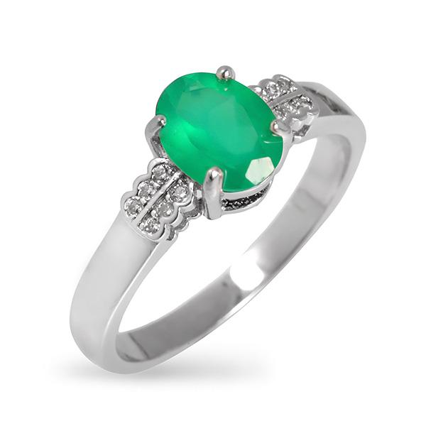 Купить Серебряное кольцо Sandara с зеленым агатом и фианитами RNR143