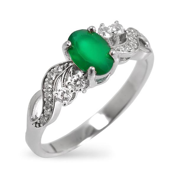 Купить Серебряное кольцо Sandara с зеленым агатом и фианитами RNR151
