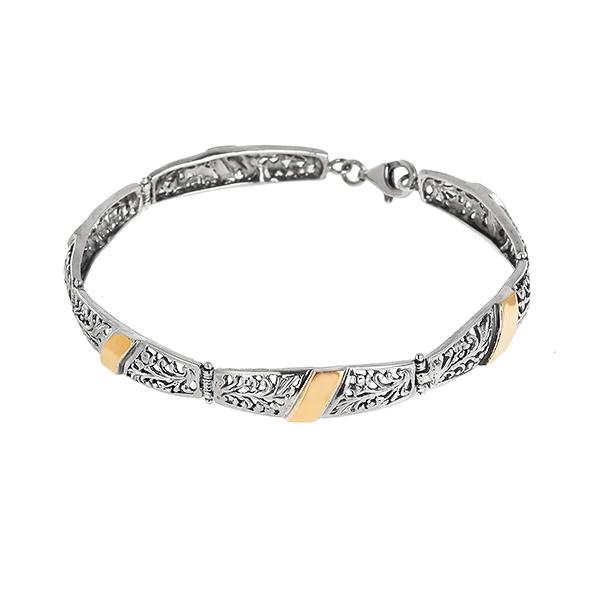 Купить Серебряный браслет Yaffo с золотом SAB333
