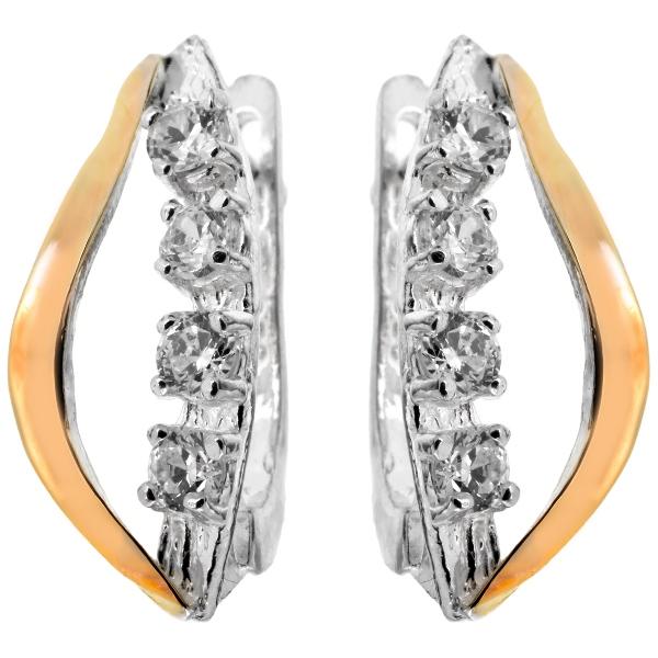 Купить Серебряные серьги Yaffo с золотом и фианитом SAE025