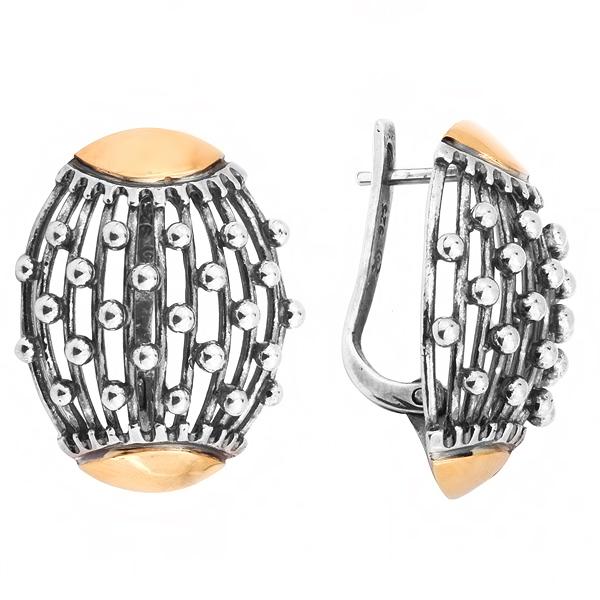 Купить Серебряные серьги Yaffo с золотом SAE201