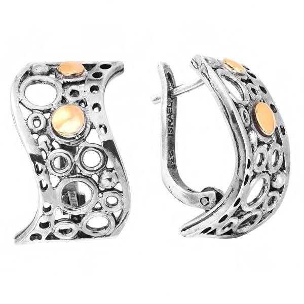 Купить Серебряные серьги Yaffo с золотом SAE207