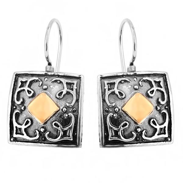 Купить Серебряные серьги Yaffo с золотом SAE219