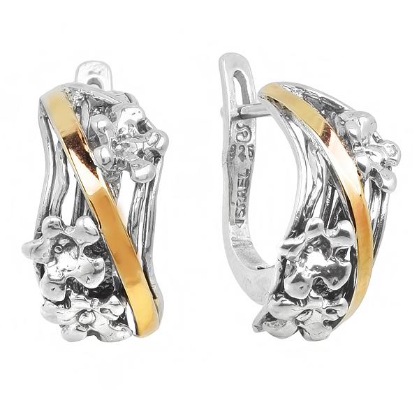 Купить Серебряные серьги Yaffo с золотом SAE251
