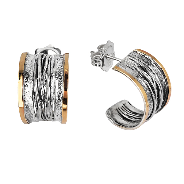 Купить Серебряные серьги Yaffo с золотом SAE311