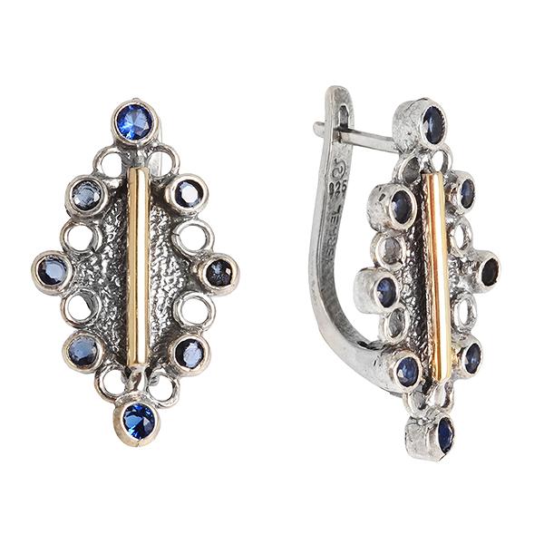 Купить Серебряные серьги Yaffo с золотом и фианитами SAE313