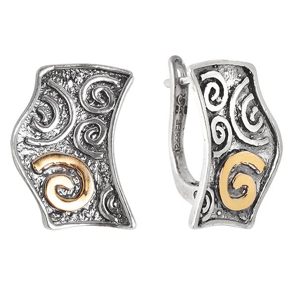 Купить Серебряные серьги Yaffo с золотом SAE324