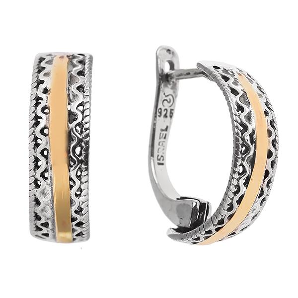 Купить Серебряные серьги Yaffo с золотом SAE426