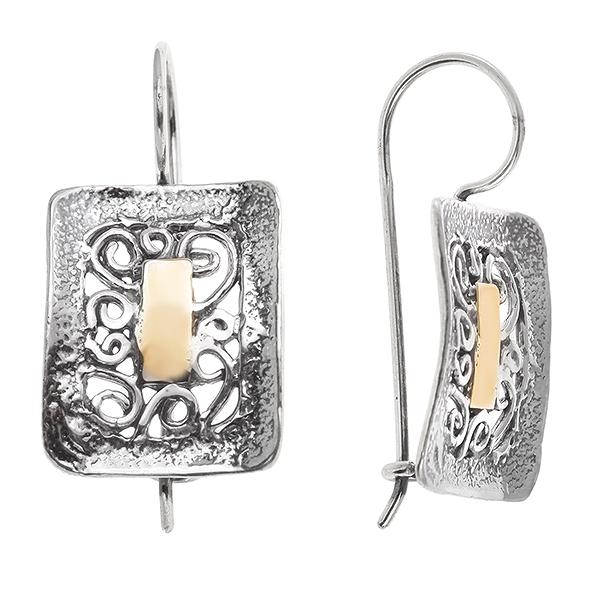 Купить Серебряные серьги Yaffo с золотом SAE431