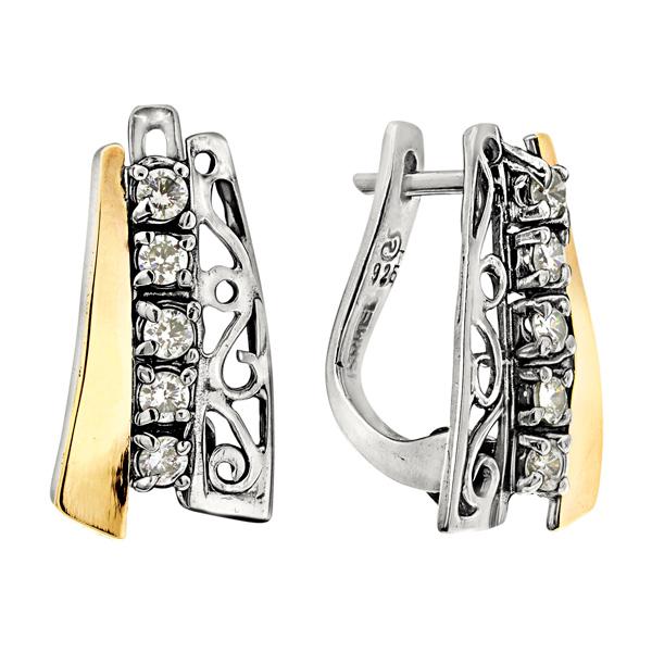 Купить Серебряные серьги Yaffo с фианитами и золотом SAE613