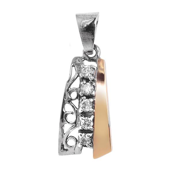 Купить Серебряный кулон Yaffo с фианитами и золотом SAP615