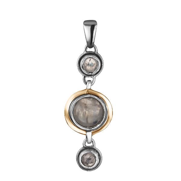 Купить Серебряный кулон Yaffo с лунным камнем и золотом SAP902