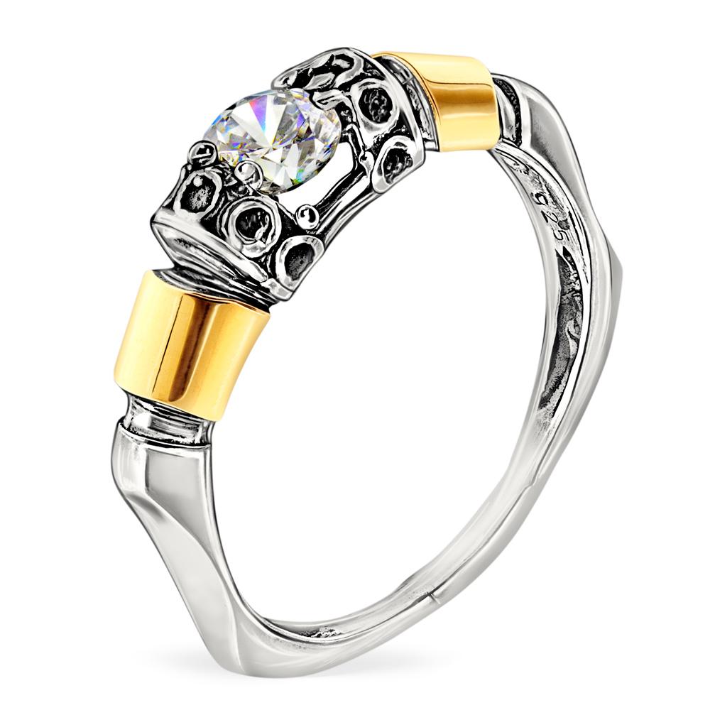 Купить Серебряное кольцо Yaffo с золотом и фианитом SAR088