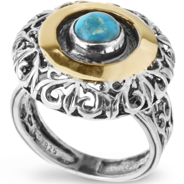 Купить Серебряное кольцо Yaffo с золотом и бирюзой SAR092