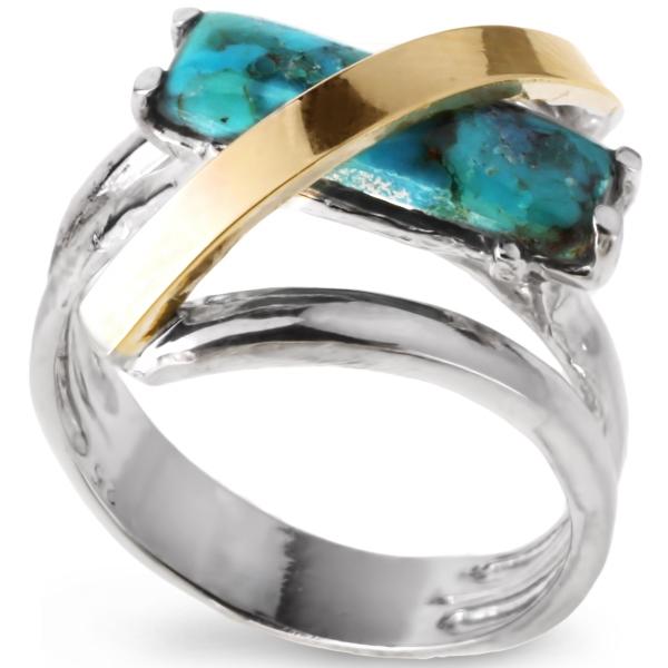 Купить Серебряное кольцо Yaffo с золотом и бирюзой SAR095