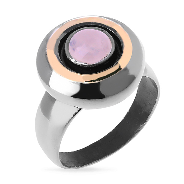 Купить Серебряное кольцо Yaffo с золотом и розовым кварцем SAR098RQ