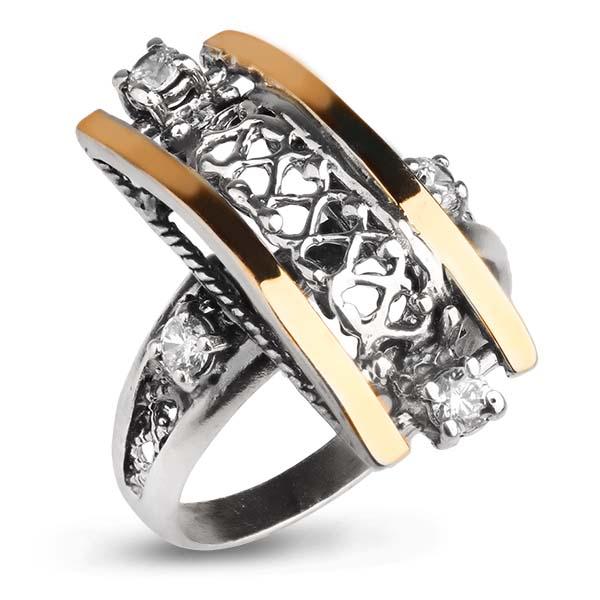 Купить Серебряное кольцо Yaffo с фианитом и золотом SAR1007