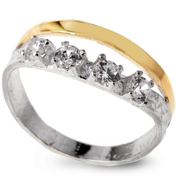 Купить Серебряное кольцо Yaffo с золотом и фианитом SAR103