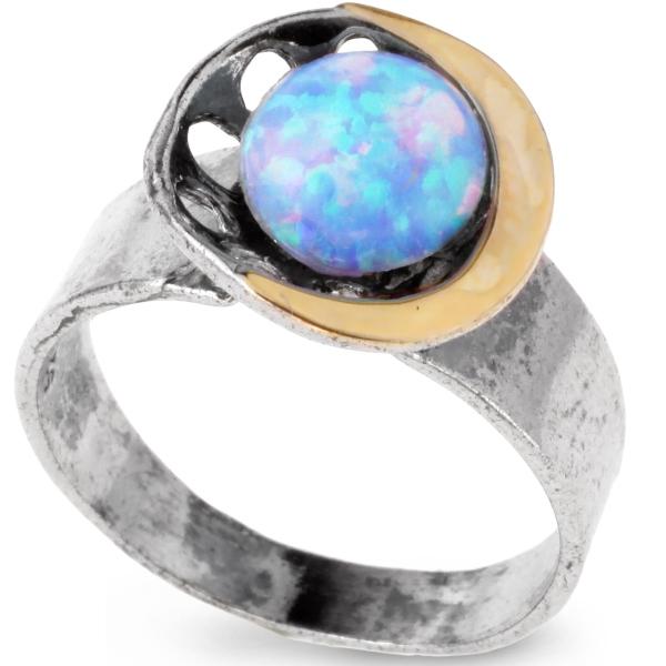 Купить Серебряное кольцо Yaffo с золотом и опалом SAR107