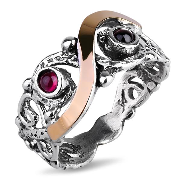 Купить Серебряное кольцо Yaffo с гранатом и золотом SAR1096