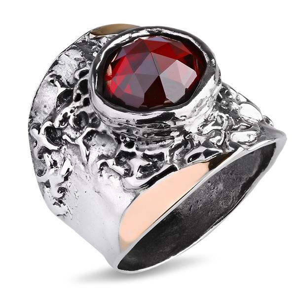 Купить Серебряное кольцо Yaffo с фианитом и золотом SAR1123