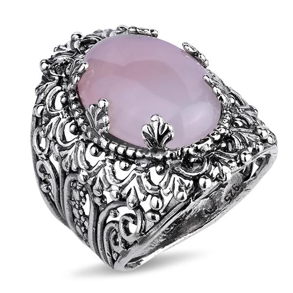 Купить Серебряное кольцо Yaffo с розовым кварцем SAR1138