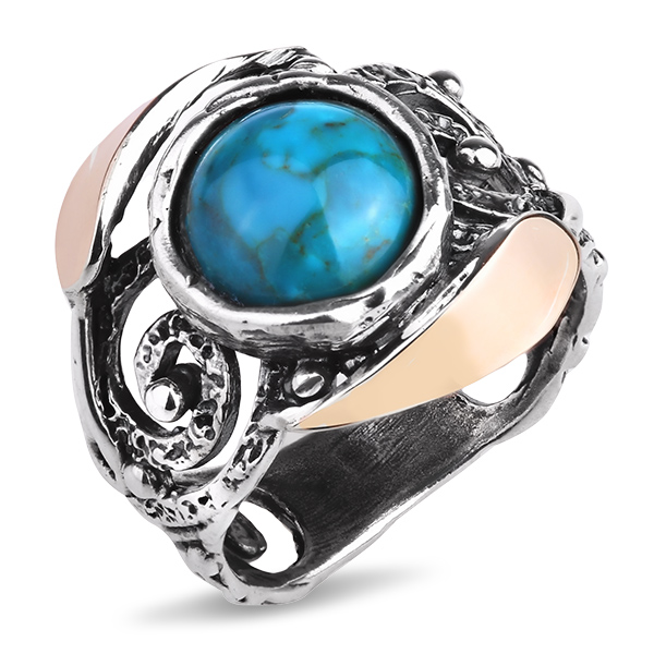 Купить Серебряное кольцо Yaffo с бирюзой и золотом SAR1141