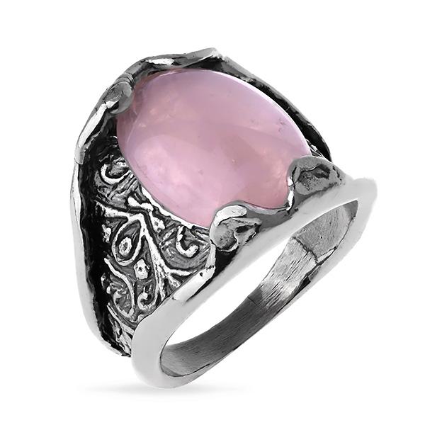 Купить Серебряное кольцо Yaffo с розовым кварцем SAR1178-1