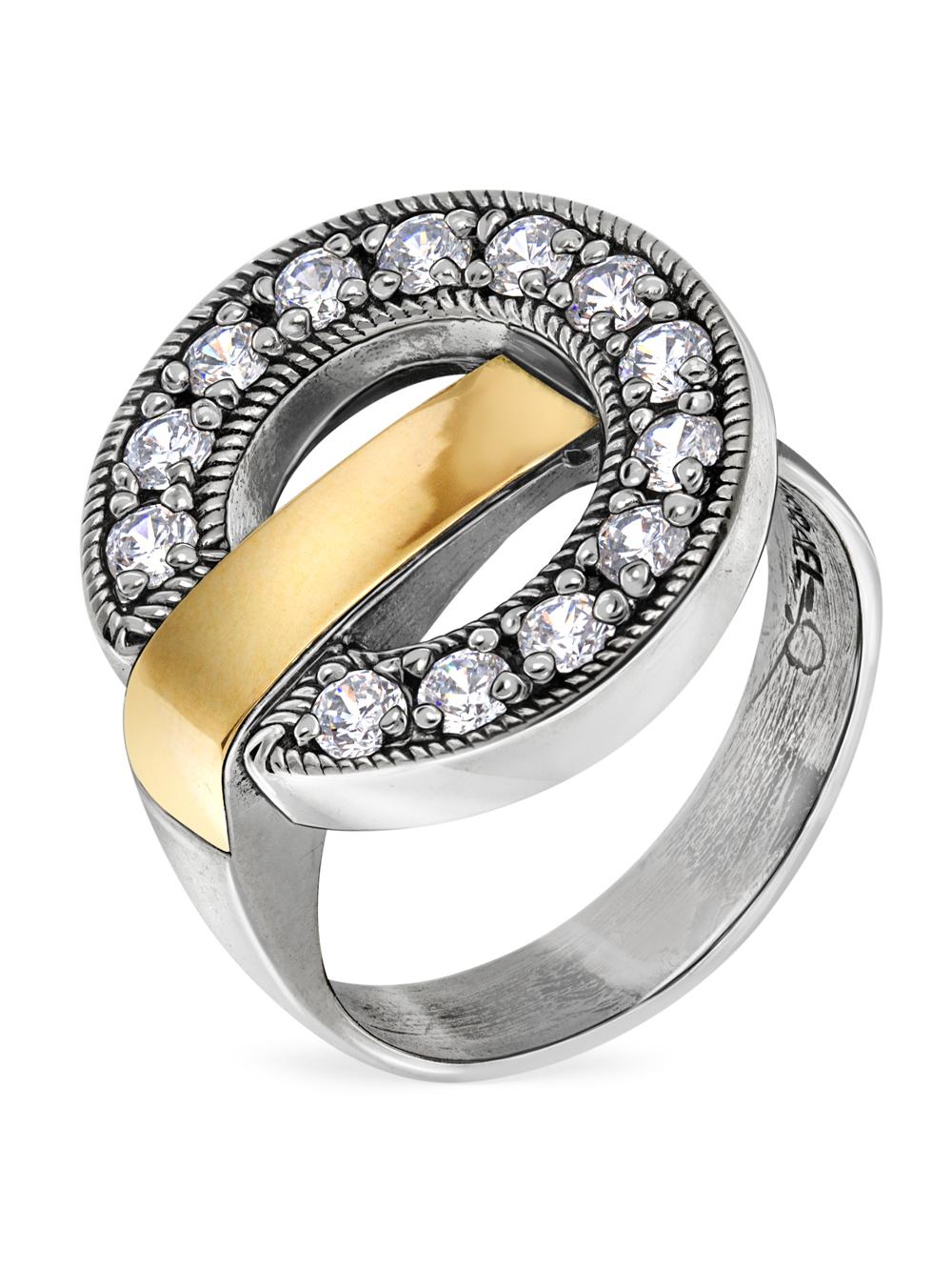 Купить Серебряное кольцо Yaffo с фианитом и золотом SAR1201
