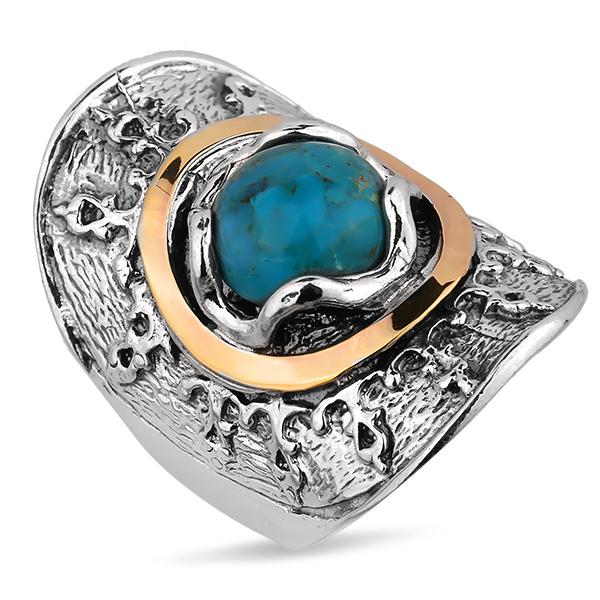 Купить Серебряное кольцо Yaffo с бирюзой и золотом SAR1226