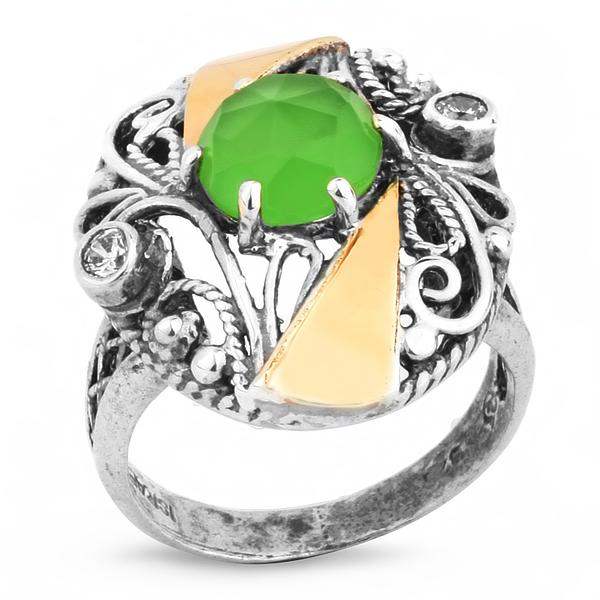Купить Серебряное кольцо Yaffo с золотом, фианитом и кварцем SAR158