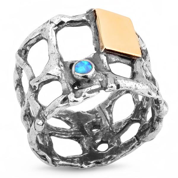 Купить Серебряное кольцо Yaffo с золотом и опалом SAR174