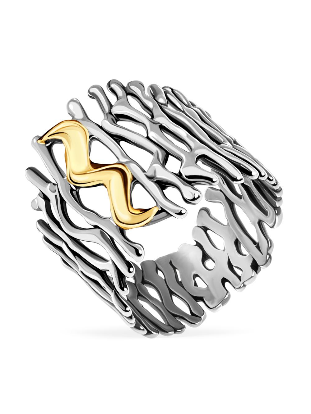 Купить Серебряное кольцо Yaffo с золотом SAR196