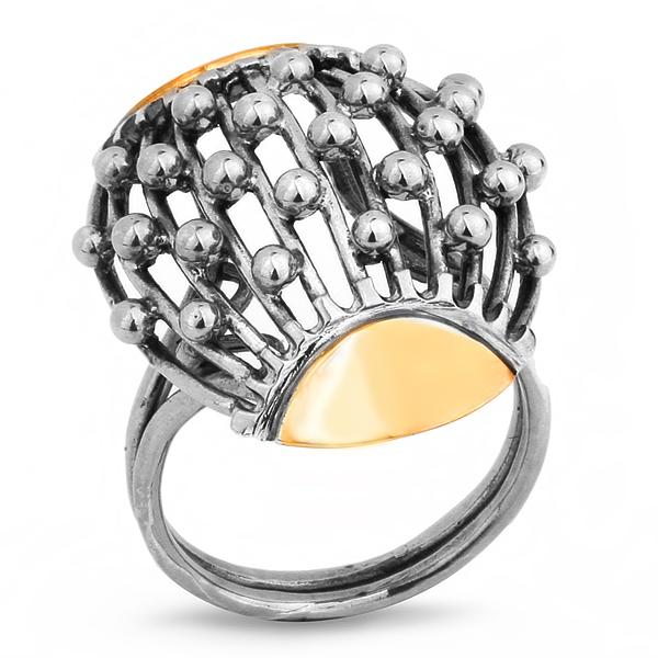 Купить Серебряное кольцо Yaffo с золотом SAR202