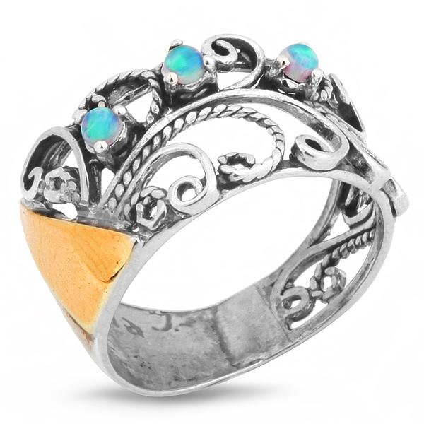 Купить Серебряное кольцо Yaffo с золотом и опалом SAR208